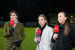 February 7, 2019 - London, England, United Kingdom - Jordan Nobbs  of Arsenal (Light Grey coat ) and Natasha Harding of Reading (Black coat)on the mic .during FA Continental Tyres Cup Semi-Final match between Arsenal and Manchester United Women FC at Boredom Wood on 7 February 2019 in Borehamwood, England, UK. (Credit Image: © Action Foto Sport/NurPhoto via ZUMA Press)