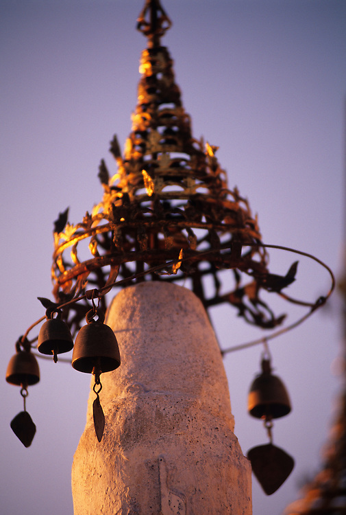 Monestery at Taung Kalat, temple bells and ornaments