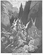 The Vision of the Four Chariots Zechariah 6:1 From the book 'Bible Gallery' Illustrated by Gustave Dore with Memoir of Dore and Descriptive Letter-press by Talbot W. Chambers D.D. Published by Cassell & Company Limited in London and simultaneously by Mame in Tours, France in 1866