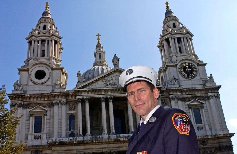 A fireman from the City of New York Fire Department attending a special Service of Remembrance and Commemoration at St Paul's Cathedral today which was held in honour of those who died in the terrorist attacks that struck New York, Washington and Pennsylvania on September 11th 2001.