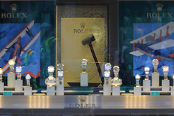 © Licensed to London News Pictures. 05/06/2018. London, UK. A hammer is seen in the glass of a Rolex display cabinet at Watches of Switzerland on Regent Street after it was attacked by a gang on mopeds. It is being reported that the attackers were armed with knives. Photo credit: Rob Pinney/LNP