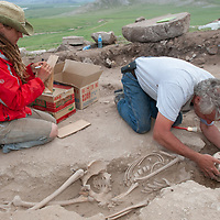 MONGOLIA. Smithsonian archaeologist & forensics specialist, Dr. Bruno Frohlich, unearths bronze-age skeleton at site above Delger River near Muren.  Skeleton may be 3700+ years old.  <br /> <br /> #MS0702_060629_0180.NEF