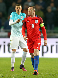 Wayne Rooney of England looks frustrated during the 0-0 draw with Slovenia in which he came off the bench for - Mandatory by-line: Robbie Stephenson/JMP - 11/10/2016 - FOOTBALL - RSC Stozice - Ljubljana, England - Slovenia v England - World Cup European Qualifier