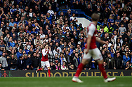 Aaron Ramsey of Arsenal frustrated after missing a chance to score as Chelsea fans show him what they think.  Premier league match, Chelsea v Arsenal at Stamford Bridge in London on Sunday 17th September 2017.<br /> pic by Kieran Clarke, Andrew Orchard sports photography.