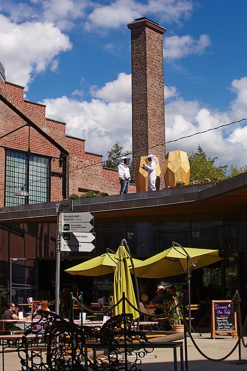 Oslo, 20140716<br /> Vulkan bigård har to bikuber designet av Snøhetta arkitekter. De står på taket ved inngangen til Mathallene på Vulkan. Birøkter Alexander du Rietz.<br /> Foto: Paul Paiewonsky / Dagbladet MAGASINET