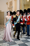 15.04.2015. Copenhagen, Denmark.Crown Princess Mary and Crown Prince Frederik attended a Gala Dinner at Christiansborg Palace on the eve of The 75th Birthday of Queen Margrethe of Denmark.Photo:© Ricardo Ramirez