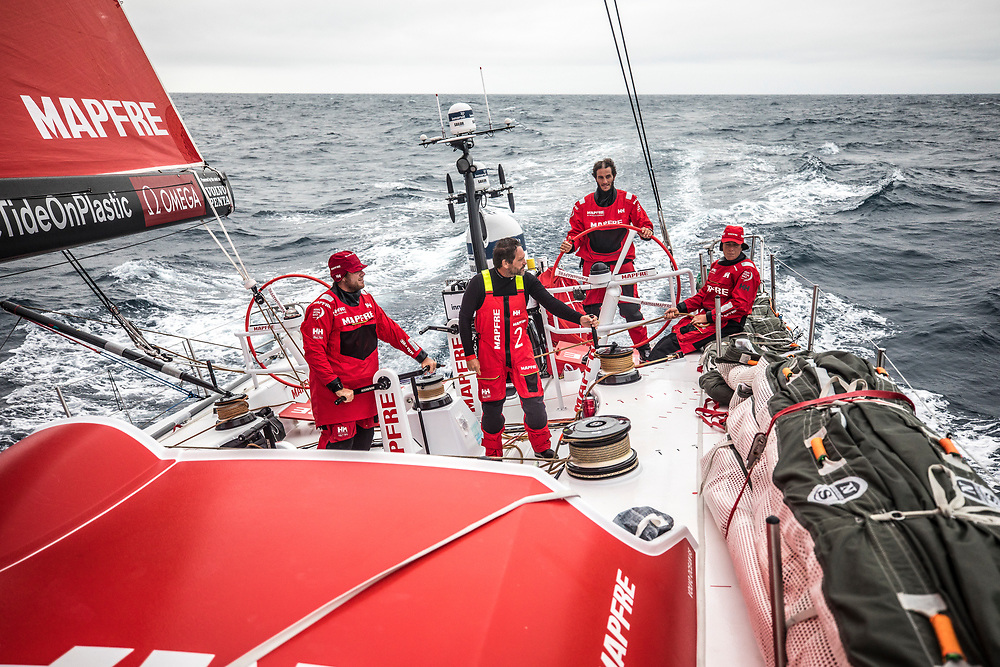 Leg 02, Lisbon to Cape Town, day 18, on board MAPFRE, Antonio Cuervas-Mons, Joan Vila, Blair Tuke and Tamara Echegoyen on deck during their watches. Photo by Ugo Fonolla/Volvo Ocean Race. 22 November, 2017