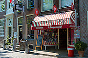 Chocolaterie sweet shop candy and gift store, Snoepwinkeltje frontage with awning, Edam, The Netherlands