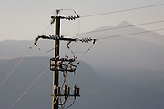 Electricity supply in the Dolomites, South Tyrol, northern Italy.