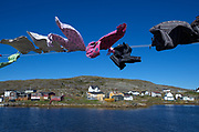 Clothes dry in the strong North Atlantic winds coming down on Fogo Island.