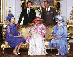 The Royal family at Buckingham Palace, London, on the day of Prince William's christening. Standing (from left): the Prince of Wales and the Duke of Edinburgh; seated (from left):  Queen Elizabeth II, the Princess of Wales holding Prince William, and the Queen Mother.