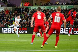 Franck Tabanou of Swansea City shoots - Mandatory byline: Rogan Thomson/JMP - 07966 386802 - 25/08/2015 - FOOTBALL - Liberty Stadium - Swansea, Wales - Swansea City v York City - Capital One Cup Second Round.