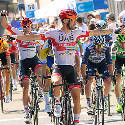 15-09-2020: wielrennen: Luxemburg: Luxemburg<br /> Diego Ulissi is the winner of the opening stage of the Tour of Luxembourg. The Italian from UAE Emirates managed to finish first after a difficult final. Amaury Capiot finished second, Eduard Michael Grosu finished third.