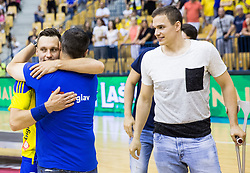 Luka Zvizej and Branko Tamse of Celje celebrate as National Champions 2017 during trophy ceremony after handball match between RK Celje Pivovarna Lasko and RK Gorenje Velenje in Last Round of 1. Liga NLB 2016/17, on June 2, 2017 in Arena Zlatorog, Celje, Slovenia. Photo by Vid Ponikvar / Sportida