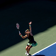 2019 US Open Tennis Tournament- Day Four.  Andrea Petkovic of Germany serving against Petra Kvitova of the Czech Republic in the Women's Singles Round Two match on Louis Armstrong Stadium at the 2019 US Open Tennis Tournament at the USTA Billie Jean King National Tennis Center on August 29th, 2019 in Flushing, Queens, New York City.  (Photo by Tim Clayton/Corbis via Getty Images)