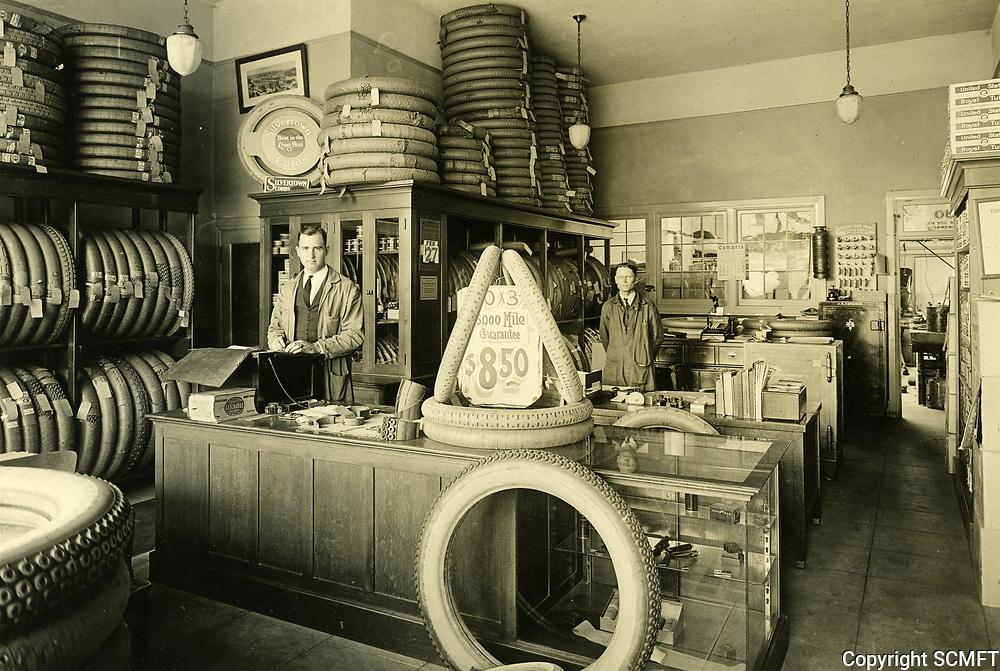 1923 Vern Farquhar in his Hollywood Tire Shop at 6262 Hollywood Blvd.