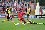 Scunthorpe United Midfielder, Josh Morris (11) and Accrington Stanley Defender and new loan signing, Michael Ihekwe (4) during the EFL Sky Bet League 1 match between Accrington Stanley and Scunthorpe United at the Fraser Eagle Stadium, Accrington, England on 1 September 2018.