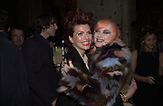Cleo Rocos and Pam Hogg. Smile1-D in association with Emporio Armani.  Wapping Power Station. 3 April 2001. © Copyright Photograph by Dafydd Jones 66 Stockwell Park Rd. London SW9 0DA Tel 020 7733 0108 www.dafjones.com