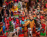 Collection of statues and figurines in the market of Chichicastenago