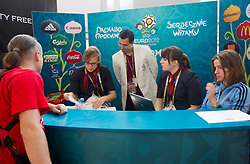 Welcome desk at Airport in Warsaw a day before the beginning of Euro 2012 Poland-Ukraine, on June 7, 2012 in Airport Frederic Chopin, Warsaw, Poland. (Photo by Vid Ponikvar / Sportida.com)