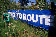 Protest signs erected by locals of the Darenth Valley in rural Kent, against the forthcoming Channel Tunnel rail link in 1989.
