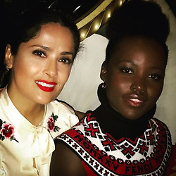 """Salma Hayek releases a photo on Instagram with the following caption: """"When they go low, Lupita and I go high. Cuando ellos caen bajo Lupita y yo vamos alto.  @lupitanyongo #girlpower #metoo #coluor"""". Photo Credit: Instagram *** No USA Distribution *** For Editorial Use Only *** Not to be Published in Books or Photo Books ***  Please note: Fees charged by the agency are for the agency's services only, and do not, nor are they intended to, convey to the user any ownership of Copyright or License in the material. The agency does not claim any ownership including but not limited to Copyright or License in the attached material. By publishing this material you expressly agree to indemnify and to hold the agency and its directors, shareholders and employees harmless from any loss, claims, damages, demands, expenses (including legal fees), or any causes of action or allegation against the agency arising out of or connected in any way with publication of the material."""