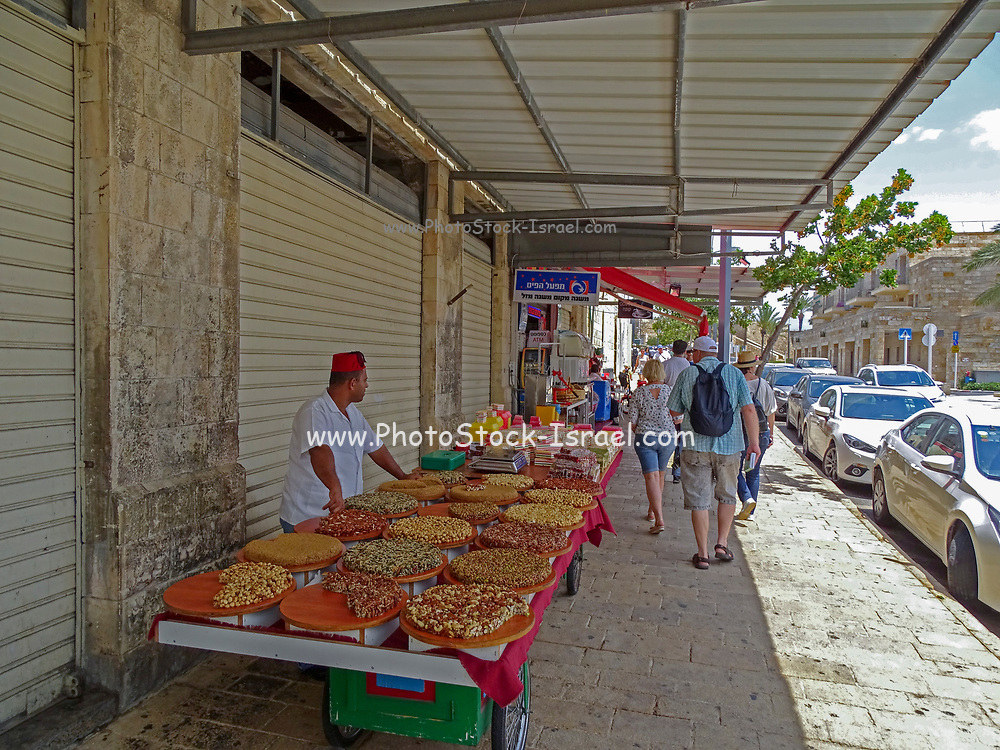The market in the narrow alleyway of the old city of Acre, western Galilee, Israel