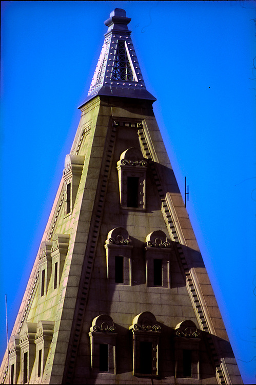 The top or crown of Boston's Custom House Tower, the city's first skyscrapper and listed on the National Register of Historic Places.