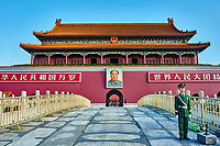 Beijing , China - September 24, 2014: Chinese soldier in front of the Gate of Heavenly Peace Tiananmen Square forbidden city Beijing China