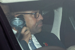 © Licensed to London News Pictures. 29/10/2019. London, UK. James Cleverly MP arriving at the Houses of Parliament in a car this afternoon. Photo credit : Tom Nicholson/LNP