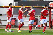 Goal 1 - 0 - Jordan Stevens (22) of Swindon Town celebrates a goal on his debut for Swindon during the EFL Sky Bet League 1 match between Swindon Town and Burton Albion at the County Ground, Swindon, England on 26 September 2020.during the EFL Sky Bet League 1 match between Swindon Town and Burton Albion at the County Ground, Swindon, England on 26 September 2020.