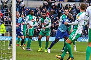 Goal 1-0 Wycombe Wanderers forward Adebayo Akinfenwa(20) celebrates an own goal scored by Plymouth Argyle defender Yann Songo'o (4) during the EFL Sky Bet League 1 match between Wycombe Wanderers and Plymouth Argyle at Adams Park, High Wycombe, England on 26 January 2019.