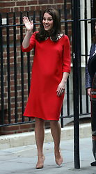 The Duchess of Cambridge outside the Lindo Wing at St Mary's Hospital in Paddington, London after giving birth.