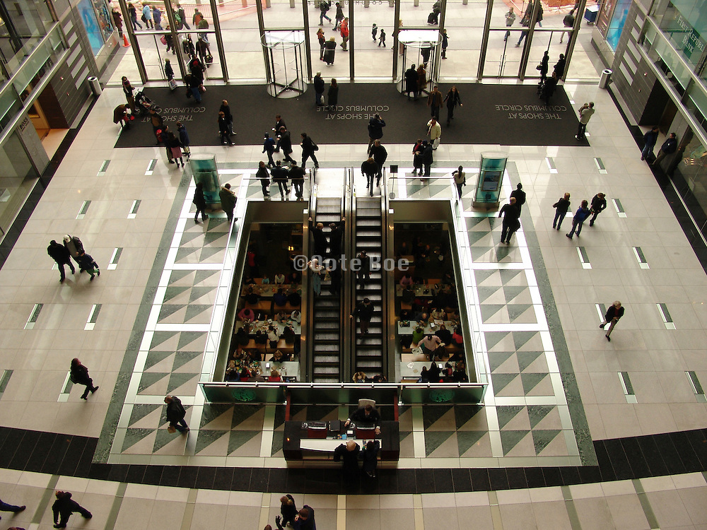 Aerial view of atrium in shopping mall The Shops at Columbus circle New York City.