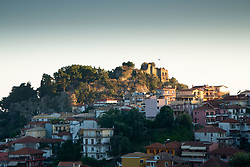 View of Castle and Town from Virgin Mary Island, Parga, Epirus, Greece