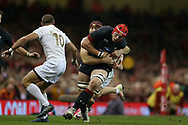 Seb Davies of Wales © is tackled by Georgia's Beka Bitsadze ®. . Under Armour 2017 series Autumn international rugby, Wales v Georgia at the Principality Stadium in Cardiff , South Wales on Saturday 18th November 2017. pic by Andrew Orchard, Andrew Orchard sports photography