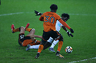 Wilfried Bony of Swansea city® scores his teams 2nd goal. The Emirates FA Cup, 3rd round replay match, Swansea city v Wolverhampton Wanderers at the Liberty Stadium in Swansea, South Wales on Wednesday 17th January 2018.<br /> pic by  Andrew Orchard, Andrew Orchard sports photography.