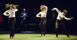 Flamenco Festival London 2018: Women and<br /> Creation at Sadler's Wells, London, Great Britain <br /> 18th February 2018 <br /> <br /> On Sunday 18 February, dramatist Pedro G. Romero and flamenco dancers Ursula López, Tamara López and Leonor Leal present Painter and Flamenco: J.R.T. Drawing inspiration from the Symbolist artist Julio Romero de Torres, this hypnotizing performance aims to break clichés and disarm the representations of the archetypal 'Spanish Woman' that famously feature in his work.<br /> <br /> The annual festival marks its 15th anniversary at Sadler's Wells from Wednesday 14 - Sunday 25 February. With performances from some of the world's finest flamenco dancers and musicians, this year's festival searches beyond the classical images of the flamenco dancer to rediscover forgotten spirits, reclaim women's stories and unearth the true characters behind the dramatic façade.<br /> <br /> Úrsula López, Tamara López and Leonor Leal<br /> <br /> Photograph by Elliott Franks