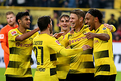 DORTMUND, Sept. 18, 2017  Pierre-Emerick Aubameyang (1st R) of Borussia Dortmund celebrates after scoring during the Bundesliga soccer match between Borussia Dortmund and 1.FC Cologne at the Signal Iduna Park in Dortmund, Germany on Sept. 17, 2017. Borussia Dortmund won 5-0. (Credit Image: © Joachim Bywaletz/Xinhua via ZUMA Wire)