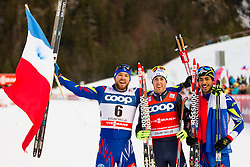 Baptiste Gros (FRA), Federico Pellegrino (ITA) and Richard Jouve (FRA) during Ladies 1.2 km Free Sprint Qualification race at FIS Cross Country World Cup Planica 2016, on January 16, 2016 at Planica, Slovenia. Photo By Urban Urbanc / Sportida