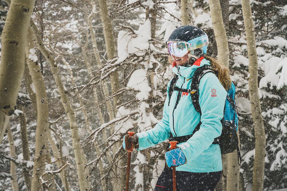 Lifer. Kaylin Richardson takes a moment to soak up the storm, Brighton, Utah.