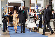King Felipe VI of Spain, Queen Letizia of Spain, Queen Sofia of Spain leave to the Campoamor Theater for the Princess of Asturias Award 2017 ceremony on October 20, 2017 in Oviedo, Spain