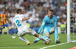 August 27, 2017 - Madrid, Spain - Dani Carvajal and Neto. LaLiga Santander matchday 2 between Real Madrid and Valencia. The final score was 2-2, Marco Asensio scored twice for Real Madrid. Carlos Soler and Kondogbia did it for Valencia. Santiago Bernabeu Stadium, august 27, 2017. Photo by  (Credit Image: © |Antonio Pozo |  Media Expre/VW Pics via ZUMA Wire)