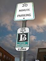 30 min parking free WI-FI zone sign in downtown Bremerton, Washington, USA
