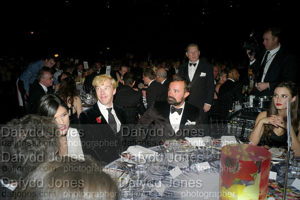 ANNA JONES; BENEDICT CUMBERBATCH; EVGENY LEBEDEV, Grey Goose Winter Ball to Benefit the Elton John AIDS Foundation. Battersea park. London. 29 October 2011. <br /> <br />  , -DO NOT ARCHIVE-© Copyright Photograph by Dafydd Jones. 248 Clapham Rd. London SW9 0PZ. Tel 0207 820 0771. www.dafjones.com.