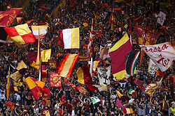 AS Roma fans wave flags in the stands during the UEFA Champions League, Semi Final, Second Leg at the Stadio Olimpico, Rome.
