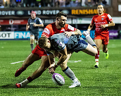 Hallam Amos of Cardiff Blues is tackled by Adam Thompstone of Leicester Tigers<br /> <br /> Photographer Simon King/Replay Images<br /> <br /> European Rugby Challenge Cup Round 2 - Cardiff Blues v Leicester Tigers - Saturday 23rd November 2019 - Cardiff Arms Park - Cardiff<br /> <br /> World Copyright © Replay Images . All rights reserved. info@replayimages.co.uk - http://replayimages.co.uk