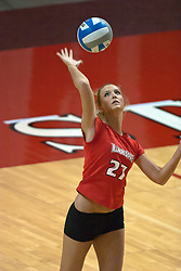 12 November 2006: Katie Seyller strikes a serve. In the final regular season home game at ISU, the Northern Iowa Panthers defeated the Illinois State Redbirds 3 game to 1. The match took place at Redbird Arena on the campus of Illinois State University in Normal Illinois.<br />