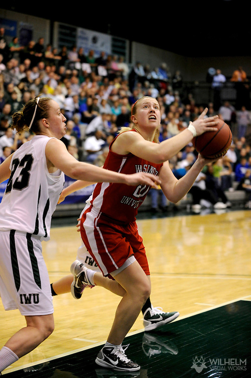 18 MAR 2011:  Kristin Anda (2) of Washington University - St. Louis against Olivia Lett (23) of Illinois Wesleyan University during the 2011 NCAA Women's Division III <br /> Basketball Championship held on the campus of the Illinois Wesleyan University in Bloomington, IL. Washington - St. Louis defeated Illinois Wesleyan 87-77 to advance to the final. © Brett Wilhelm
