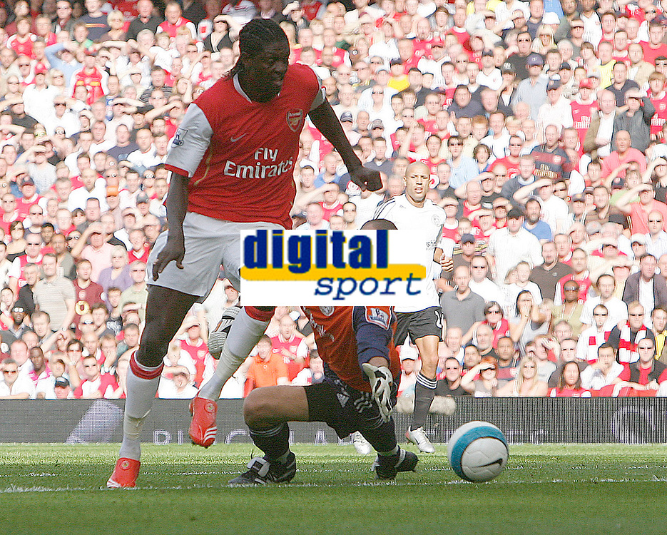 Photo: Steve Bond.<br />Arsenal v Derby County. The FA Barclays Premiership. 22/09/2007. Emmanual Adebayor rounds keeper Stephen Bywater to score no2